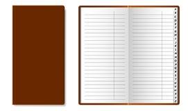 Guida telefonica aperta e chiusa con l'alfabeto latino alle pagine Le pagine del libro sono allineate royalty illustrazione gratis
