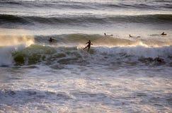 Guida Wave, sport acquatici, scena del surfista del tramonto Fotografie Stock Libere da Diritti