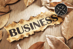 Guidance in business concept. Using printed word on burnt paper along with compass, surrounded by dry leaf royalty free stock photography