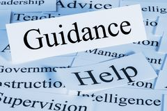 Guidance Concept and Words. Guidance Concept - a conceptual look at guidance, help, advice stock image