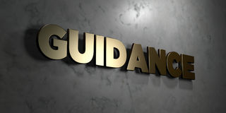 Guidance - Gold sign mounted on glossy marble wall  - 3D rendered royalty free stock illustration. This image can be used for an online website banner ad or a Stock Photo