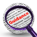 Guidance Magnifier Definition Means Counselling And Help Stock Images