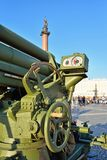 The guidance system of anti-aircraft artillery guns of world war. II on Palace square Royalty Free Stock Images