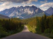 Guidando attraverso Jasper National Park verso Rocky Mountains Fotografia Stock Libera da Diritti