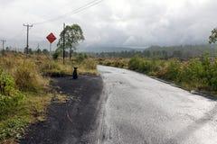Guidando attraverso la strada della cresta della caldera fra la vista del cratere estinto del vulcano Batur fotografia stock libera da diritti