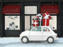 Guidando con i regali neri e rossi durante venerdì nero rappresentazione 3d Fotografia Stock Libera da Diritti