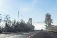 Guidando giù la strada principale nebbiosa nel parco di stato dell'insenatura di Malibu Fotografie Stock Libere da Diritti