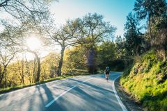 Guidando nel tramonto Fotografia Stock