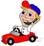 Guidando su un telefono delle cellule Immagine Stock