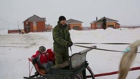 Guidando in una slitta, primo piano di un cavallo video d archivio
