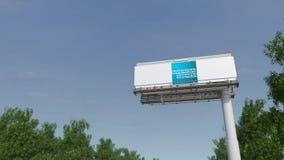 Guidando verso il tabellone per le affissioni di pubblicità con il logo di American Express 3D editoriale che rende clip 4K illustrazione di stock