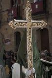 Guide Cross Catholic procession. Semana Santa de Úbeda (Jaén) Spain Easter Week  penitent Royalty Free Stock Photos