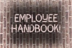 Guide des employés des textes d'écriture de Word Le concept d'affaires pour des règlements manuels de document ordonne la brique  illustration stock