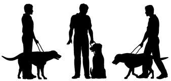 Guide dog. Editable vector silhouettes of a blind man and his guide dog with each man and dog as a separate object royalty free illustration