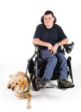 Guide dog. Labrador guide dog and his proud owner royalty free stock photos