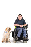 Guide dog. Labrador guide dog and his proud owner Stock Photos
