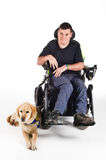 Guide Dog. Labrador guide dog and his proud owner stock images