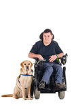 Guide dog. Labrador guide dog and his proud owner Stock Photography