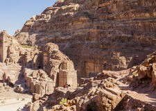 Guide on donkey. Passage to High Place of sacrifice. Petra. Jordan. Stock Photo