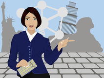 Guide. Girl exorcised smiling, against the shadows of the various attractions of America, Italy, Belgium and Egypt. She holds in her hands a map of the area, the royalty free illustration