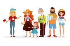 Guide and group of tourists listening her and having an excursion vector illustration in flat design. Various people. Cartoon characters isolated on white Stock Photos