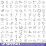 100 guide icons set, outline style Stock Photos