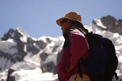 Guide on Inca Trail - Salcantay Valley. Sacred Valley - Salcantay peak Royalty Free Stock Photo