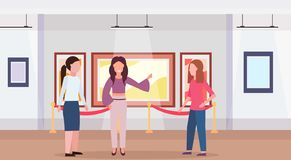 Guide lady and women tourists in modern art gallery museum interior looking creative contemporary paintings artworks or. Exhibits flat horizontal full length vector illustration