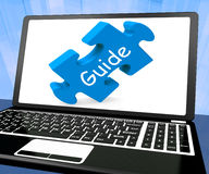 Guide Laptop Shows Assistance Instructions Royalty Free Stock Images
