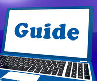 Guide Laptop Shows Help Organizer Or Guidance Stock Image