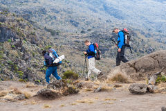 Guide leading tourists on Mount Kilimanjaro. Kilimanjaro, with its three volcanic cones, Kibo, Mawenzi, and Shira, is a dormant volcano in Kilimanjaro National Royalty Free Stock Images