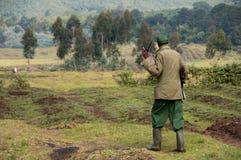 Rwandan Gorilla Trekking Guide Royalty Free Stock Photo