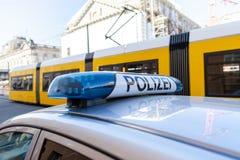 Guide optique bleu de police allemande Photographie stock
