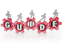 Guide People Walking Gears Instructions Advice. Guide word on gears and people walking forward to illustrate progress thanks to instructions, guidance Stock Photo