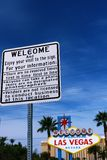 A guide plate and The Welcome to Fabulous Las Vegas sign Royalty Free Stock Photos