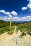 Guide post in mountain pass Royalty Free Stock Images