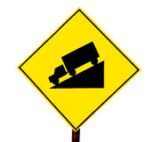 The Guide post warning slope down of car Royalty Free Stock Photo