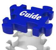 Guide Puzzle Shows Expertise Consulting Instructions Guideline A. Guide Puzzle Showing Expertise Consulting Instructions Guideline And Guiding Royalty Free Stock Photo