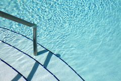 Guide Rail and Steps Shallow End of Pool Stock Photos