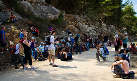Guide review. Hikers listening to a guide explanations about Jerusalem district Stock Photos