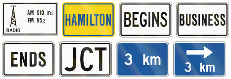 Guide road signs in Ontario - Canada Stock Photography