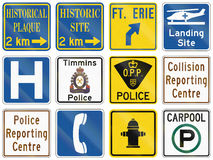 Guide road signs in Ontario - Canada Royalty Free Stock Photos