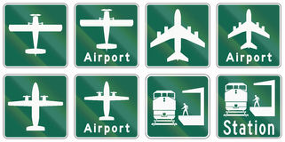 Guide road signs in Ontario - Canada. Collection of Guide road signs in Ontario - Canada royalty free illustration