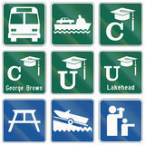 Guide road signs in Ontario - Canada Royalty Free Stock Photography