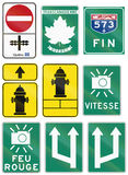 Guide road signs in Quebec - Canada Stock Photos