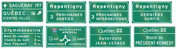Guide road signs in Quebec - Canada. Collection of Guide road signs in Quebec - Canada royalty free illustration