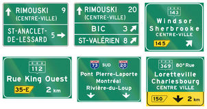 Guide road signs in Quebec - Canada Royalty Free Stock Photo