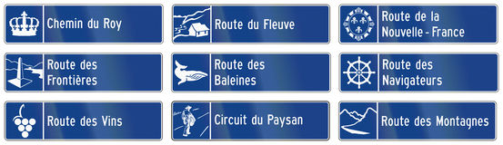 Guide road signs in Quebec - Canada Stock Images