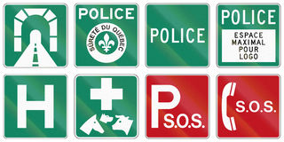Guide road signs in Quebec - Canada. Collection of Guide road signs in Quebec - Canada Stock Images