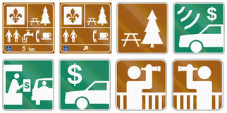 Guide road signs in Quebec - Canada Stock Photography
